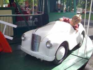 My son at 2 years old, finding out how steering works.
